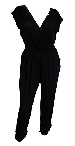 [eVogues Plus Size Deep V-Neck Jumpsuit Black - 1X] (Stretch Jumpsuit)