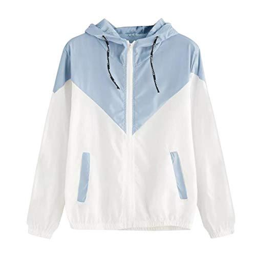 iDWZA Women Brief Patchwork Thin Skinsuit Hooded Zipper Sport Coat with Pockets (XL,Sky Blue) (Long Sports Wrap Elastic Captain)