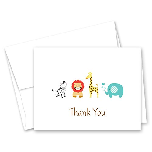 50 Safari Animals Baby Shower Thank You Cards (White) -