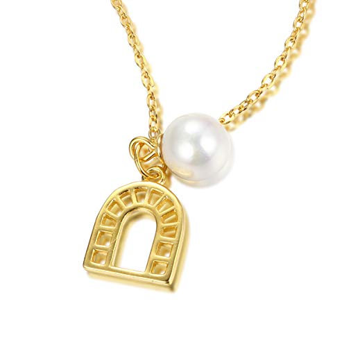 Onlyfo Cute 925 Silver Filigree Horseshoe with Pearl Pendant Necklace with Jewelry Box,Horseshoe Necklace for Women ()
