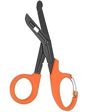 Medical Scissors, EMT and Trauma Shears, Titanium Bandage Shears 7.2'' Bent Stealth Black for Nurses, Medical Students, Emergency Room(Orange)