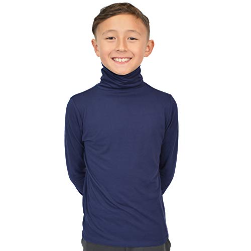 Stretch is Comfort Boy's Long Sleeve Turtleneck Navy Blue ()
