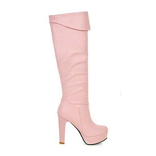 AllhqFashion Damen Rund Zehe Hoher Absatz Hoch Spitze Rein Stiefel, Pink, 40