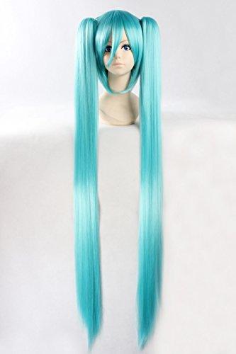 abHair Hatsune Miku-Vocaloid Inspired Wig Straight Long 2 Ponytails Cosplay Anime Wig Ice (Miku Hatsune Halloween)