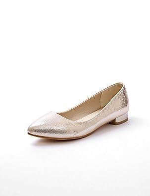 DFGBDFG PDX/Damen Schuhe flach Ferse Komfort/Ballerina/spitz Wohnungen Office & Karriere/Kleid/Casual Silber/Gold, silver-us7.5/eu38/uk5.5/cn38 - Größe: One Size