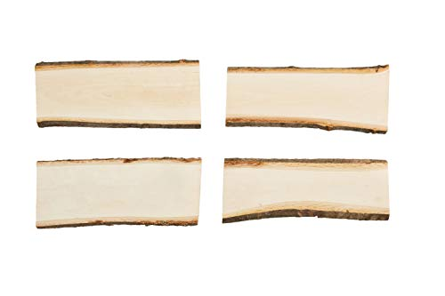 Unfinished Wood Slices - 4-Piece Natural Wood Slices, Large Wood Slices, Sliced Wood for DIY Crafting Wooden Plaques, Rustic Signs, Natural Signboards, Wedding Decor, Basswood, 9.6 x 4 x 0.5 Inches