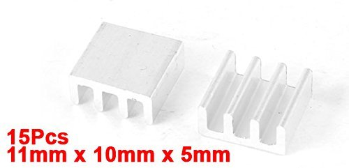 Aluminum heatsink Radiating Cooling fin Radiator 11 mm x 10 mm x 5 mm 15 Pieces Silver Tone Package of 15