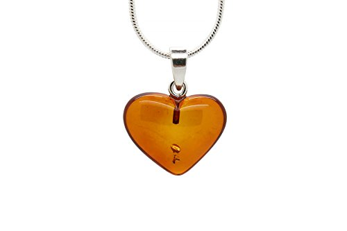 - 925 Sterling Silver Heart Pendant Necklace with Genuine Natural Baltic Amber. Chain included/Medium
