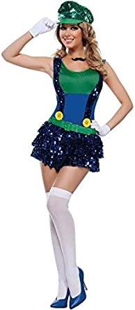 Adult Super Mario Costumes Women Luigi Clothing Sexy Plumber ...