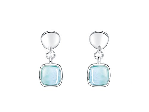 925 Sterling Silver Women Jewelry Larimar Drop Dangle Earrings with Natural Genuine Handmade Gemstone Gift for Her