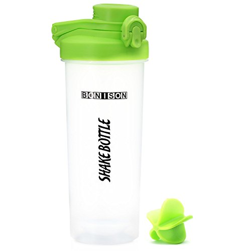 Hoople Latest Twist Cap Shake Bottle BPA and Phthalate Free, Plastic Mixer Protein Smoothies Powders Shaker Bottle, 24 oz., Green