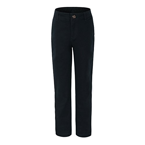 Bienzoe Big Girl's School Uniforms Cotton Stretchy Slim Flat Front Adjust Waist Pants Black Size 14 (Slim Girls Flat Front)