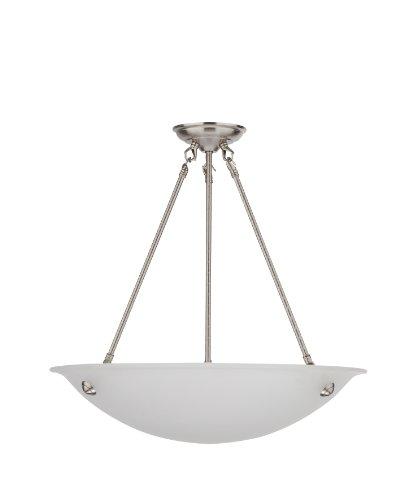 Whitfield ESCH0055-20AWSS Austin 20-Inch Energy Star Three-Light Bowl Chandelier, Satin Steel with Acid Wash Glass - Glass Bowl Chandelier