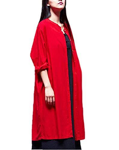Rojo Para Huateng Y Abrigo Suelto Cárdigan Chino Lino Largo Pecho Larga Estilo Mujer Retro Solo Un Manga De Ligero qUrFYq