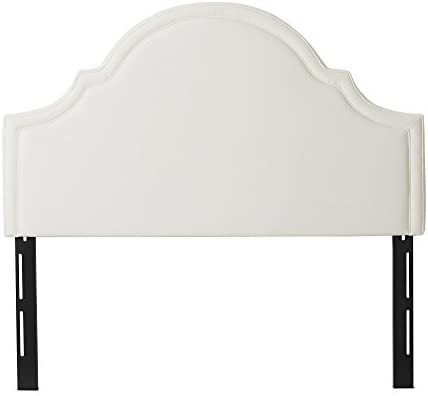 Jennifer Taylor Home Catherine Collection Antique White Upholstered Camel Back Luxury Queen Size Size Headboard