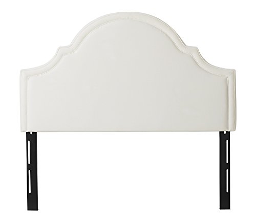 Jennifer Taylor Home Catherine Collection Antique White Upholstered Camel Back Luxury Queen Size Size Headboard With Trim, Queen Size, Star White