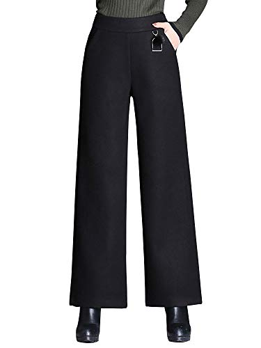 Sobrisah Women's Casual Loose Fit Cropped Pants Elastic Waist Wool Blend Wide Leg Palazzo Trousers Black Tag 4XL-US ()
