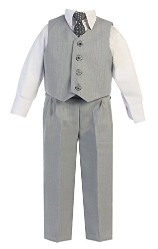 iGirlDress Big Boys Vest Pants Special Occasion Easter Outfit Set 8 Light Gray