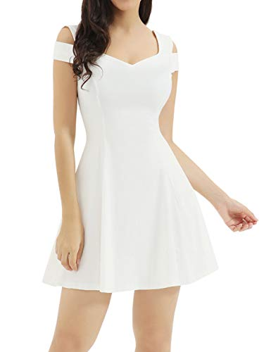 InsNova Women's Cold Shoulder Little Cocktail Party A-line Skater Dress (X-Large, White)