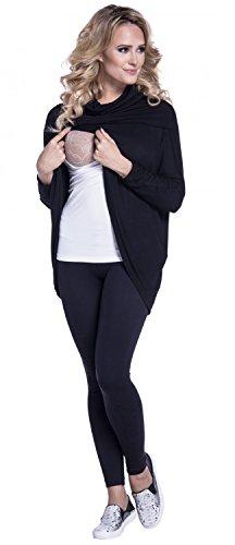 Happy Mama. Para Mujer Top Cruzado de Capa de Punto Fino Premamá Lactancia. 370p (Negro, EU 46/50, 2XL)