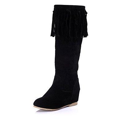 Heart&M Damen Stiefel Reitstiefel Modische Stiefel Slouch Stiefel Kunstleder Winter Normal Kleid Tassel(n) Keilabsatz Schwarz Beige Hellbraun5 - black