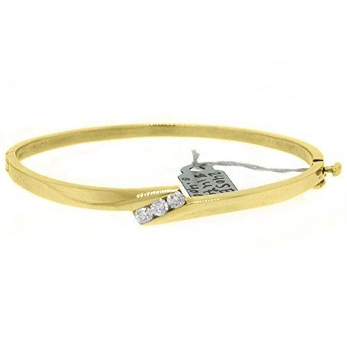 14k Yellow Gold .40 Carat Round Channel Set Diamond Bangle ()