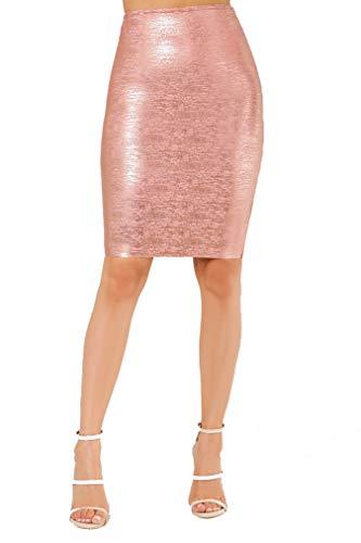Wow Couture Women's Basic Glitter Metallic Bandage Pencil Skirt (Metallic Pink, Small) (Glitter Basic)