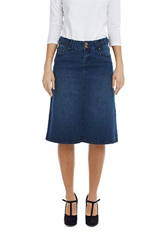 Esteez Women's Denim Skirt - A Line Jean - Below Knee Sydney Blue 4