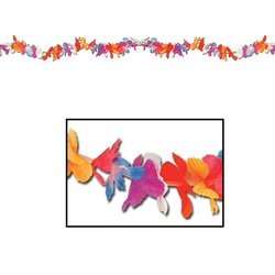 Silk 'N Petals Parti-Color Garland (multi-color) Party Accessory  (1 count) (Halloween Parti)