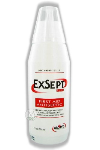 (Alcavis ExSept Plus First Aid Antiseptic, Disinfectant, Skin Cleanser & Wound Cleanser 500 ml bottle, Mfg #15104)