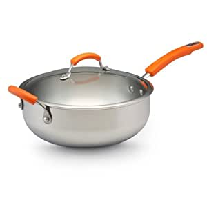 Rachael Ray Stainless Steel II 6-Quart Covered Chef Pan with Helper Handle, Orange