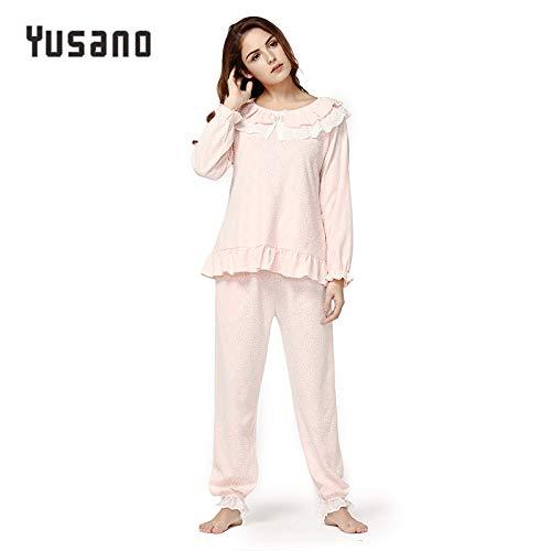 UATECH Yusano Womens Winter Autumn Pajama Sets Cotton Long Sleeve Lace Sleepwear Set Vintage Pijama Soft Breathable Pyjamas Plus Size
