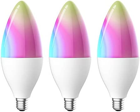 Luntak e12 Smart Light Bulbs Work with Alexa Google Home IFTTT, 320 lumens Tunnable White RGB Color Changing No Hub, 2.4 G WiFi Only