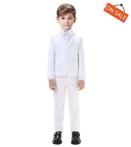 Boys Suits White Blazer Formal 5Pcs Suits for Boys Slim Fit Sets Gent Suits Size 2