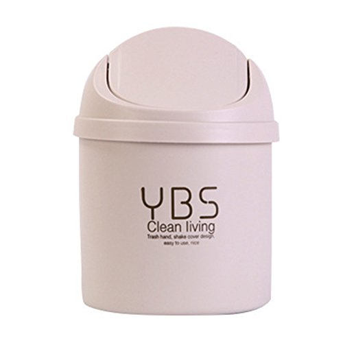 Office Desktop Portable Cute Mini Trash Can Car with Lid Recycle Plastic Desk Garbage Cans for Girls Kids Baby Countertop Cheap Small Plastic Storage Containers for Pen Pencil Drew (White) (Can Cheap With Garbage Lid)