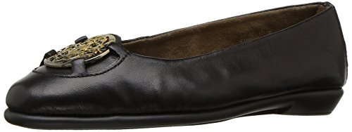 Women's Leather Ballet Aerosoles Black Exhibet Flat XqwxUdT4
