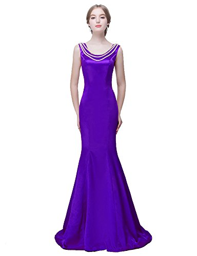 Neck Sweep (Beauty-Emily Maxi Rhinestone Chain O-Neck Sweep Train Mermaid Sleeveless Satin Lace-Up Marriage Apparel Wedding Dress Color Purple,Size 06)
