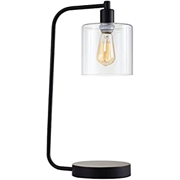 Major Q 31205 Antique Style Industrial Iron Lantern Desk Lamp With Glass  Shade, 21