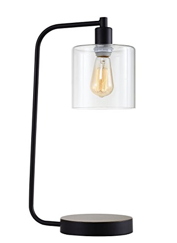 Major-Q 31205 Antique Style Industrial Iron Lantern Desk Lamp with Glass Shade, 21