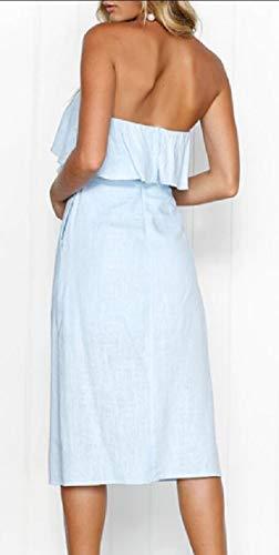 Ainr Femmes Été Sans Bretelles Épaule Froissée De Bouton Solide Robes Plissées Bas Robe Midi Décontractée Avec Des Poches Bleu