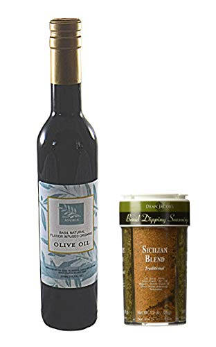Bread Dipping Party Combination of Basil Infused Organic Olive Oil 375ml and Bread Dipping Seasoning, 4 Flavor Variety 4oz - enjoy your social gathering with this gourmet oil dipping spice kit