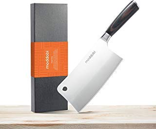 Moddobi Professional Meat Cleaver, 7 Inch High Carbon Stainless Steel, Chopper Cleaver Butcher Kitchen Knife for Home or Restaurant