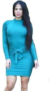 NEW Mesdames bleu Tortue Tour de cou avant Mini robe Club Wear Soirée D'Été Robes Taille 10–12