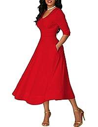 CHUNNA Womens Half Sleeve V-Neck High Waist Midi Dress with Pockets