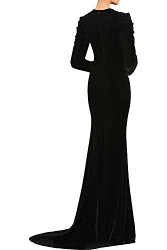 Abendkleider Elegant Vintage Ballkleider Tuell Royalblau Perlen Ivydressing Damen Rundkragen Langarm Samt Promkleider Lang Partykleider f51x8q
