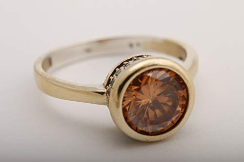 (Fashion Style! Turkish Jewelry Round Shape Honey Topaz and Round Cut Topaz 925 Sterling Silver Ring Size All)