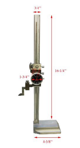 12'' Dial Height Gage BLACK DIAL FACE Shockproof 8'' X 0.001'' Dial Height Gage