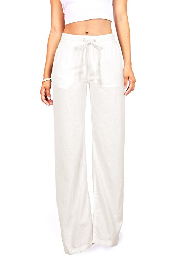 Celebrity Pink Women's Wide Leg Linen Pants (L, Off-White) by Celebrity Pink