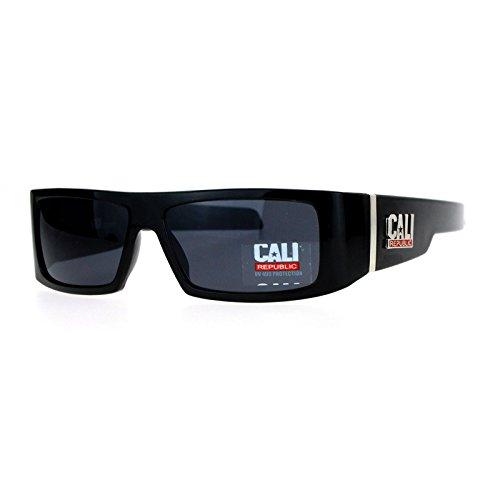 Cali Republic Sunglasses Mens Rectangular Biker Fashion Frame Black UV - Sunglasses Republic