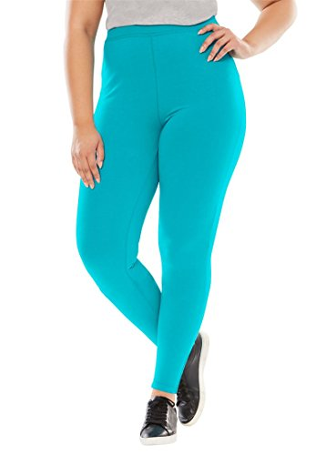 Stretch Knit Leggings (Woman Within Women's Plus Size Leggings In Stretch Knit Vibrant Turq,M)